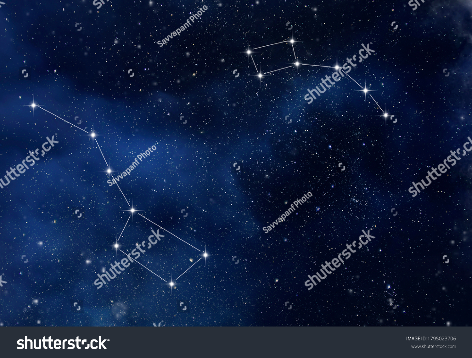 The constellation Ursa Major and Ursa Minor in the starry sky as background #1795023706
