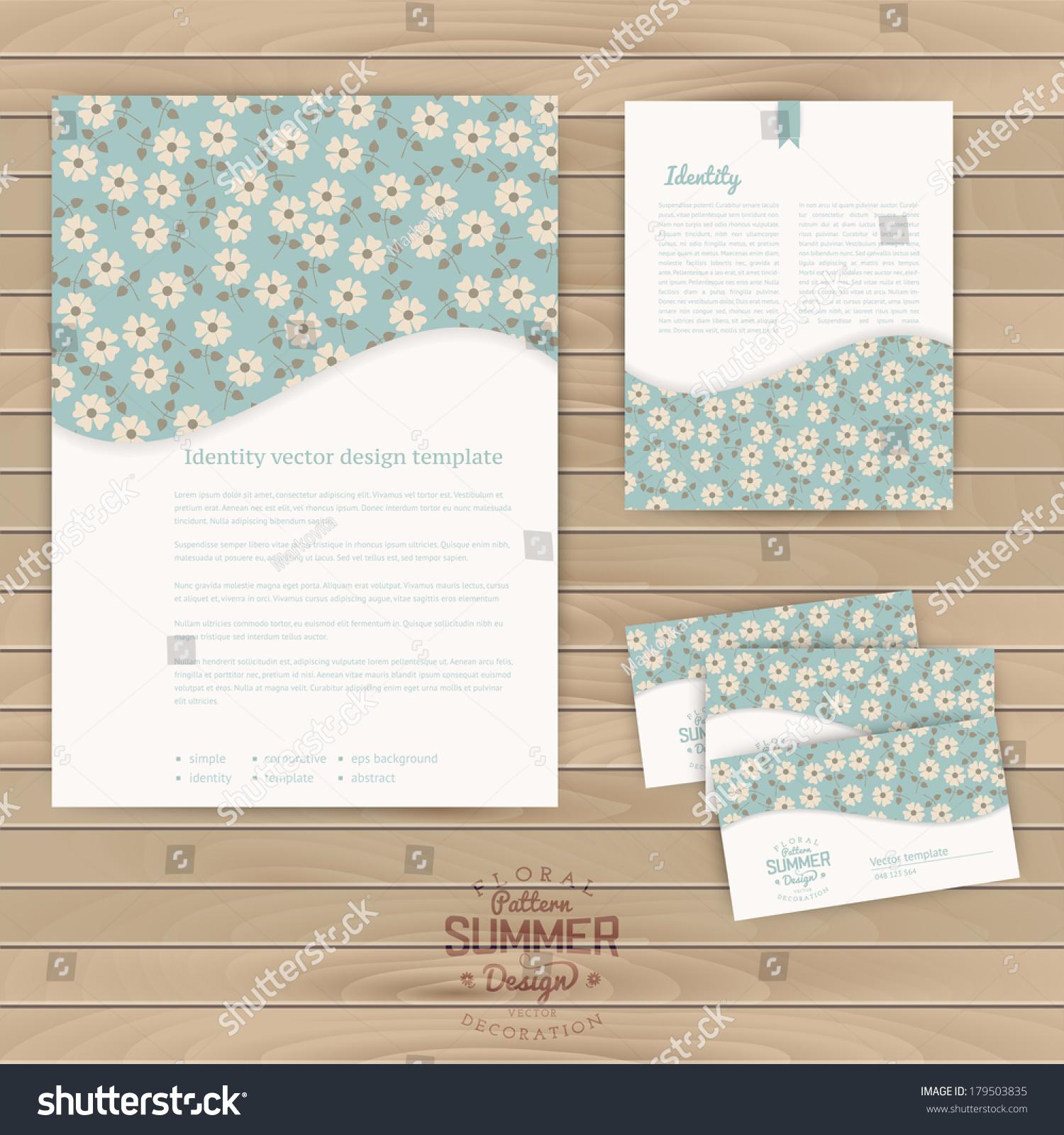 Vector Set Floral Vintage Wedding Cards Stock Vector 179503835