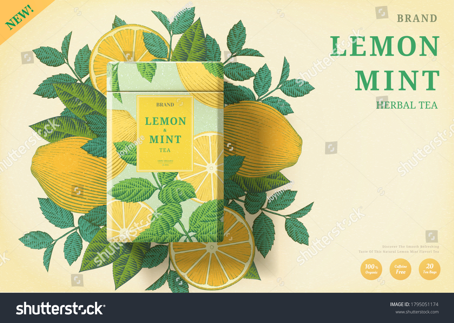 Lemon mint tea ads with engraving ingredients background on beige background, 3d illustration yellow and mint color packaging #1795051174