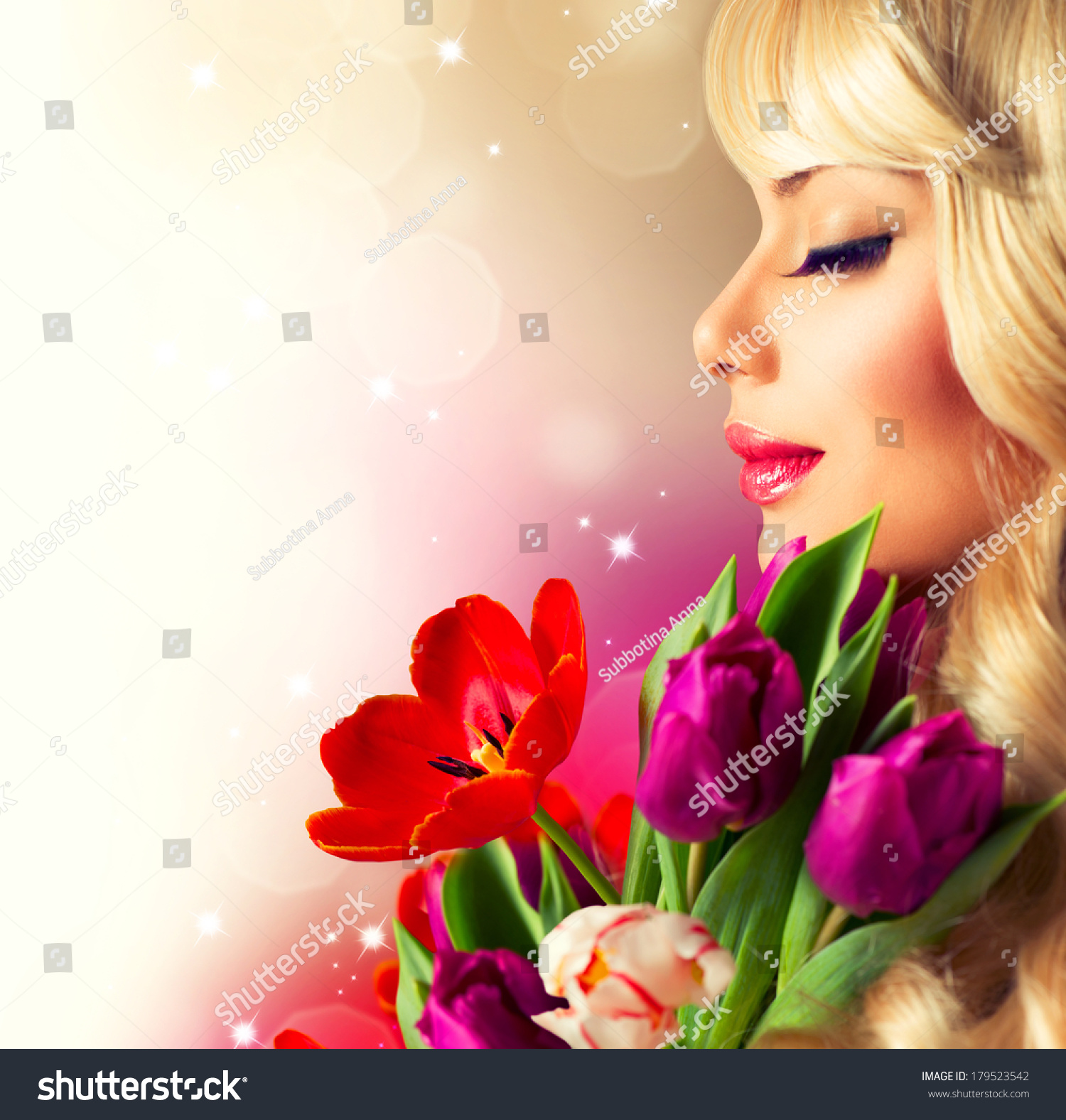 Tulip Girl Name Stock Photo Beauty Woman With Spring Flower Bouquet