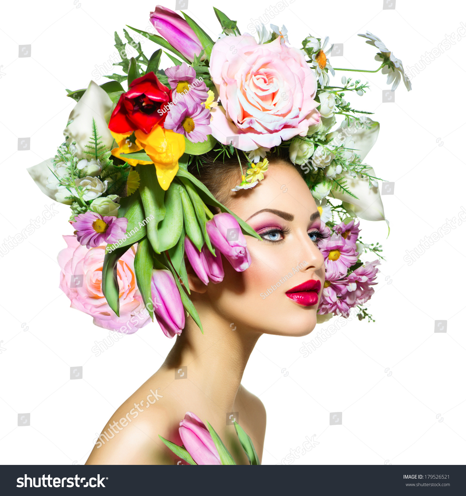 Spring woman beauty girl flowers hair stock photo 179526521 spring woman beauty girl with flowers hair style beautiful model woman with blooming flowers dhlflorist Gallery