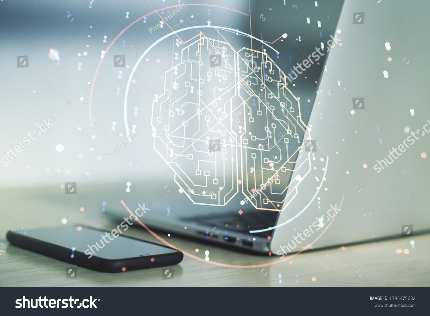 Double exposure of creative human brain microcircuit with computer on background. Future technology and AI concept #1795475632