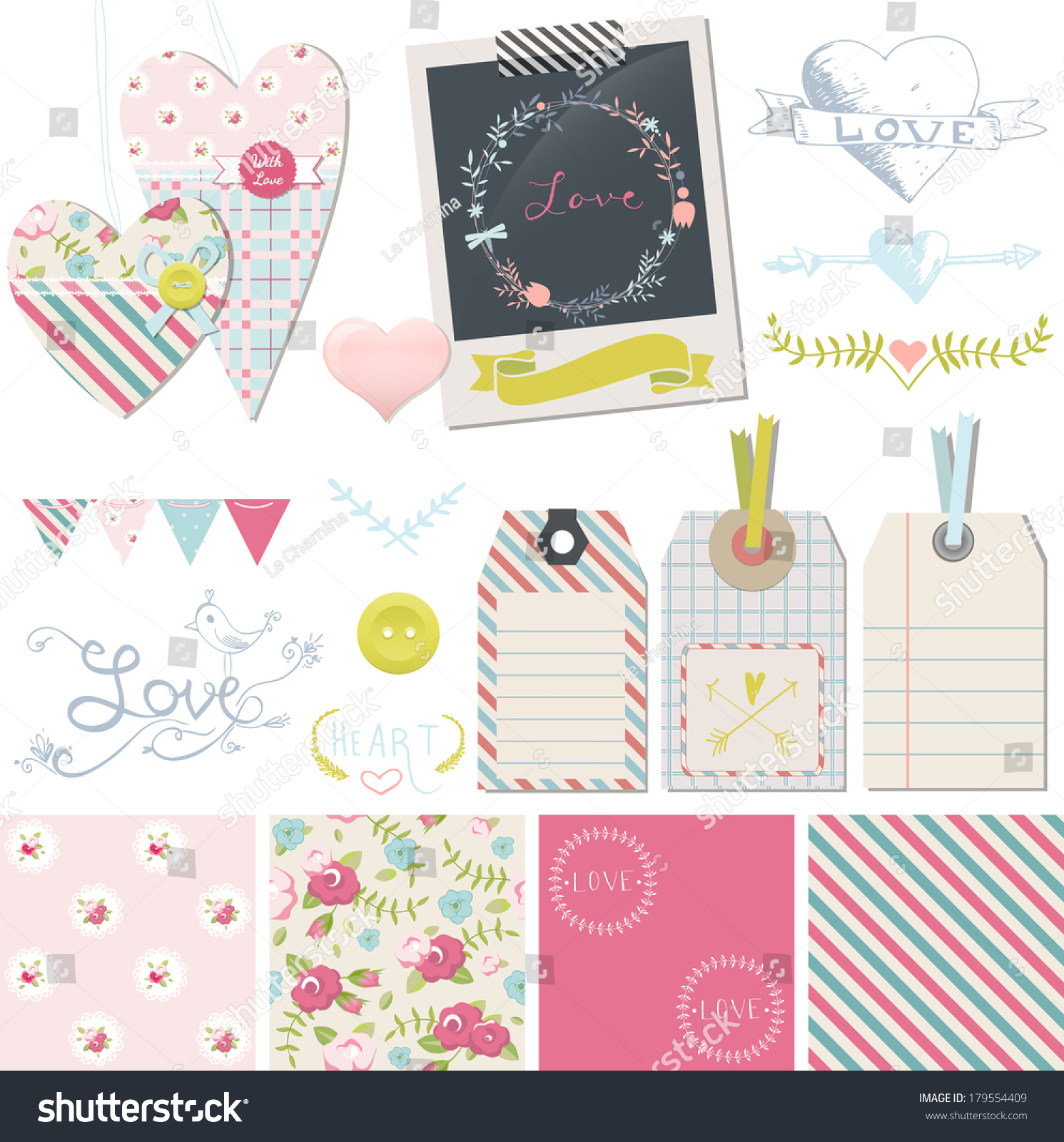 Wedding Love Romance Design Elements Collection Stock