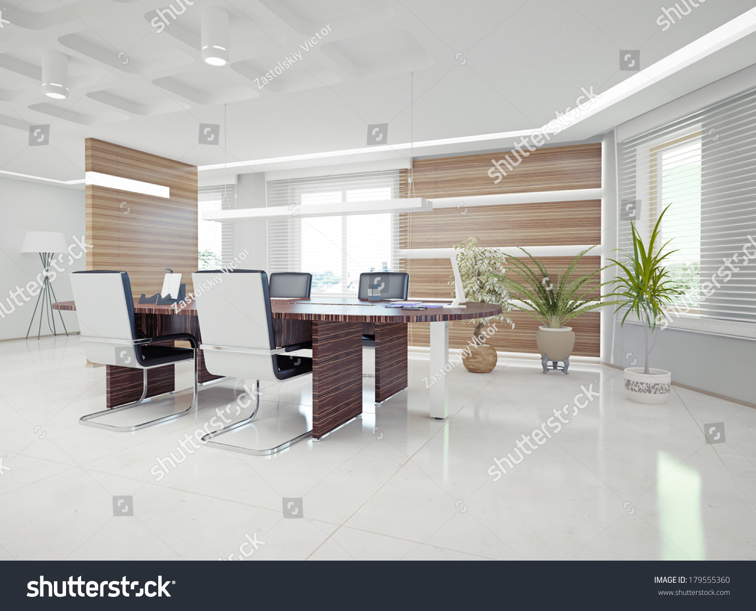 Modern Office Interior Design Concept Stock Illustration 179555360