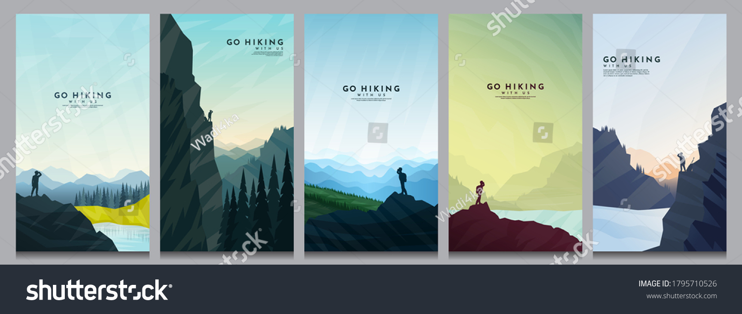 Vector illustration. Travel concept of discovering, exploring and observing nature. Hiking. Adventure tourism. Minimalist graphic flyers. Polygonal flat design for coupon, voucher, gift card