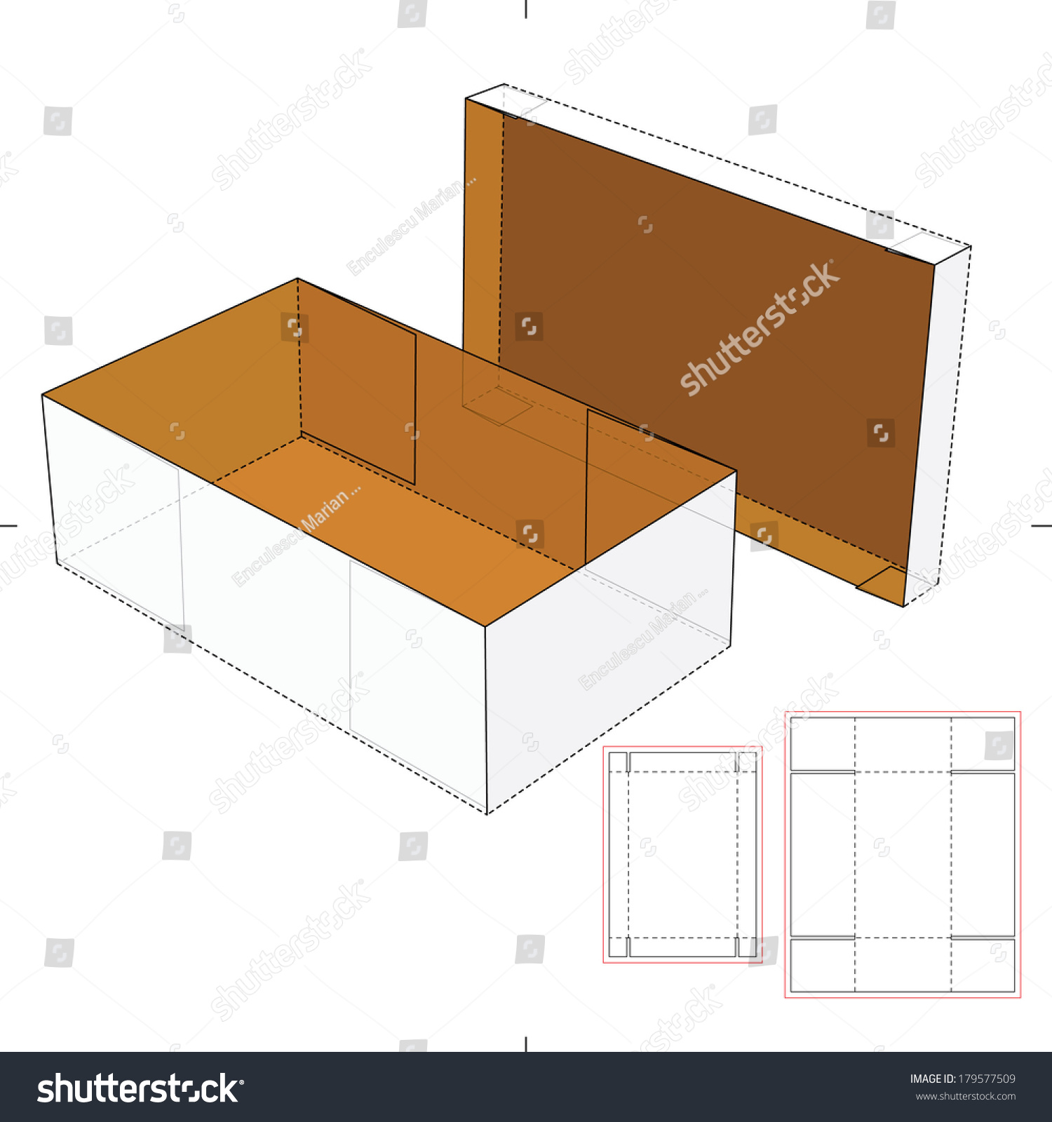 shoes cardboard box diecut pattern stock vector 179577509 shutterstock. Black Bedroom Furniture Sets. Home Design Ideas