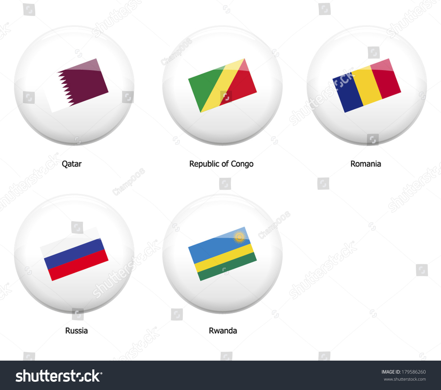 White Pin Badges Flag All Countries Stock Vector (Royalty Free