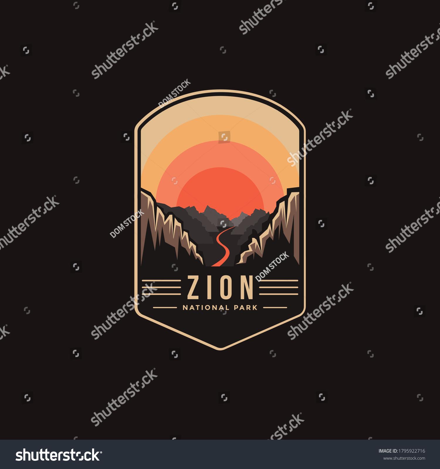 Emblem patch logo illustration of Zion National Park on dark background #1795922716