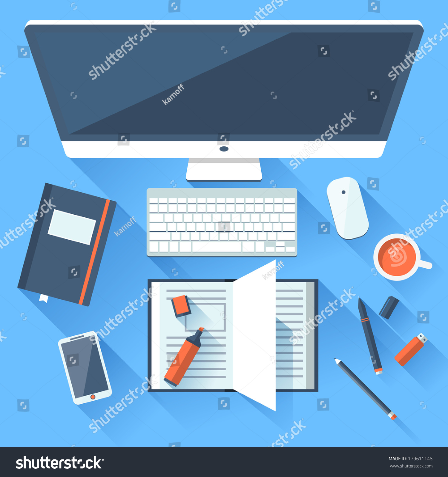 designer office desk isolated objects top view. Top View Of Desk Background With Laptop, Digital Devices, Office Objects, Books And Documents Long Shadows. Stock Photo Designer Isolated Objects