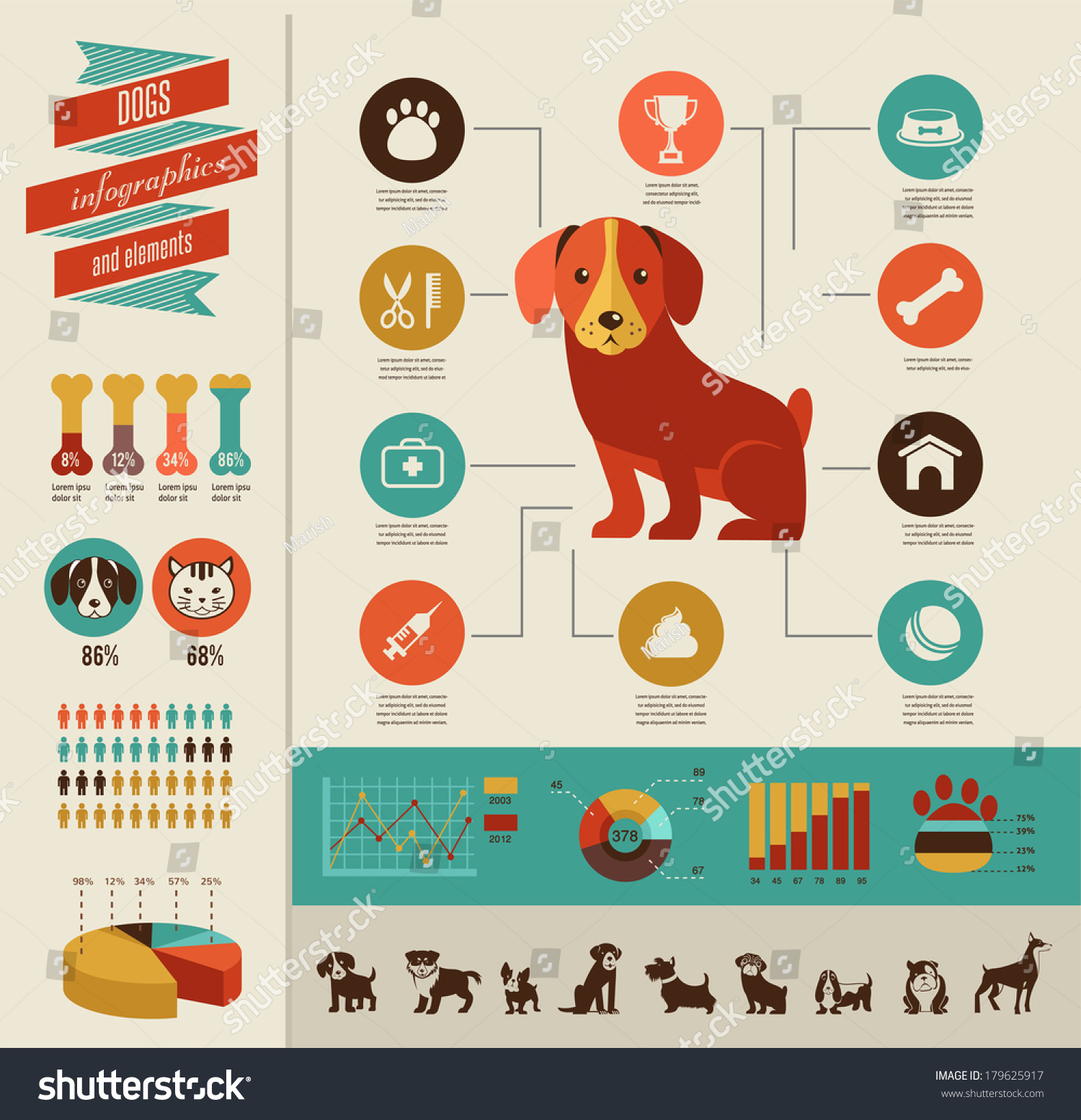 Dogs Infographics Vector Illustration Icon Set Stock ...