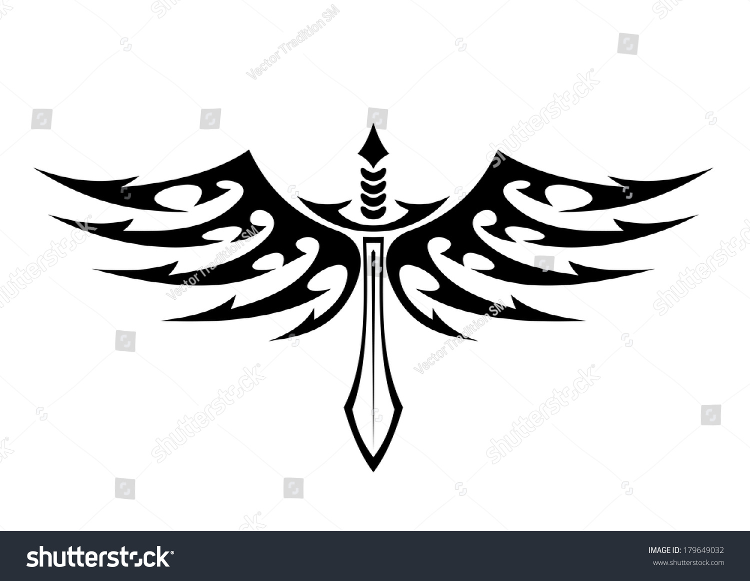 black and white vector illustration of a winged sword