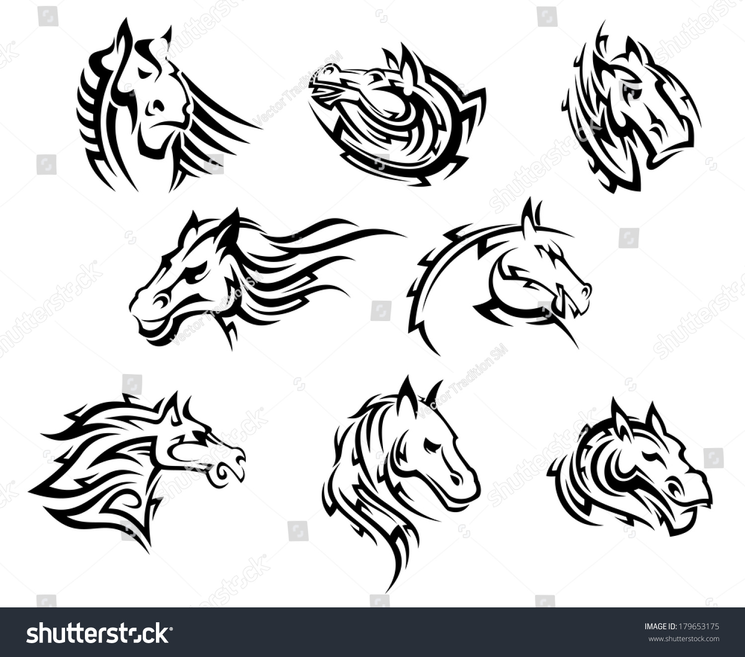 Tribal-Tattoos stock-vector-collection-of-eight-different-horse-tribal-tattoos-logo-designs-in-black-and-white-179653175