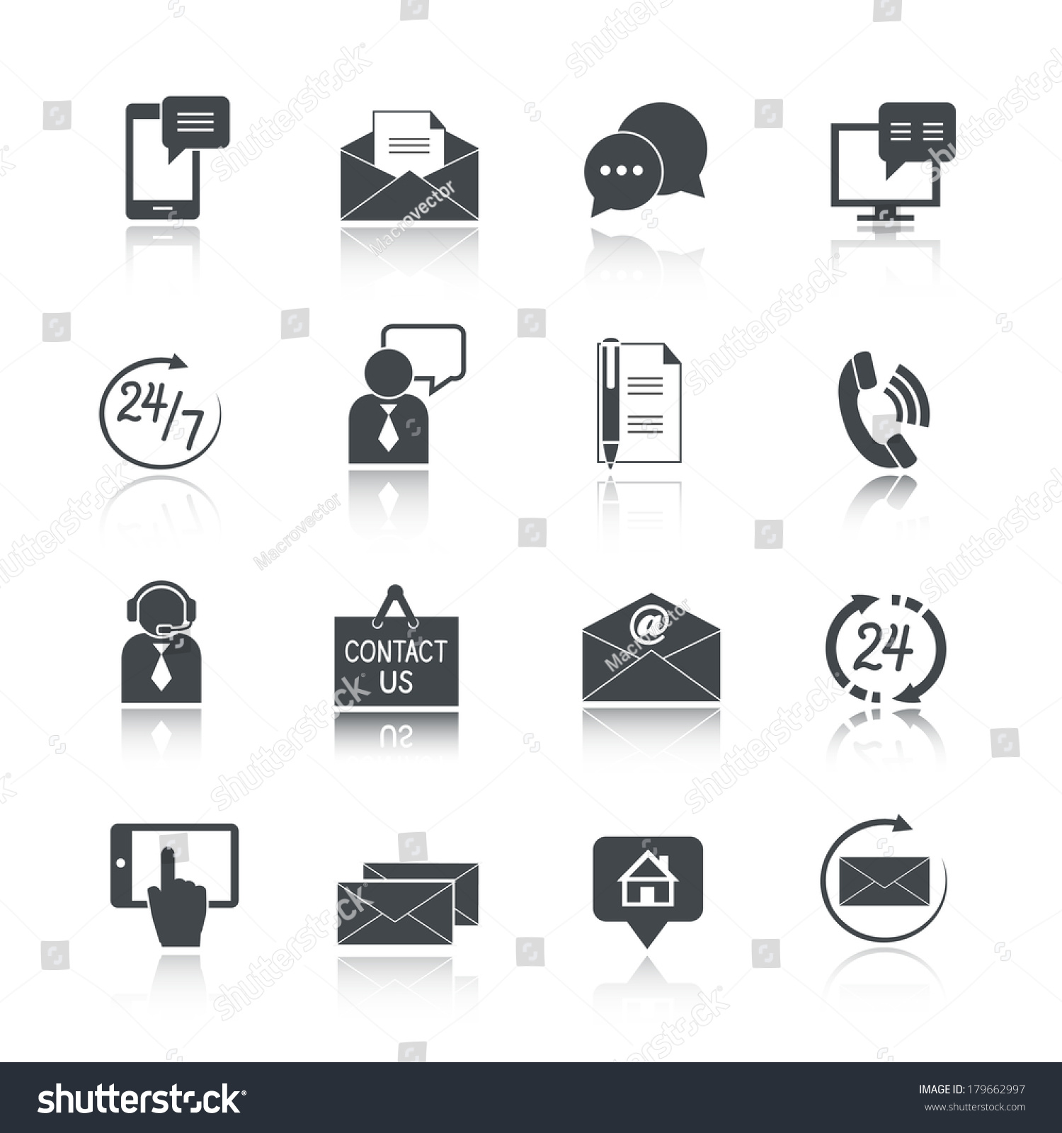 Contact Us Service Icons Set Email Stock Vector 179662997 ...