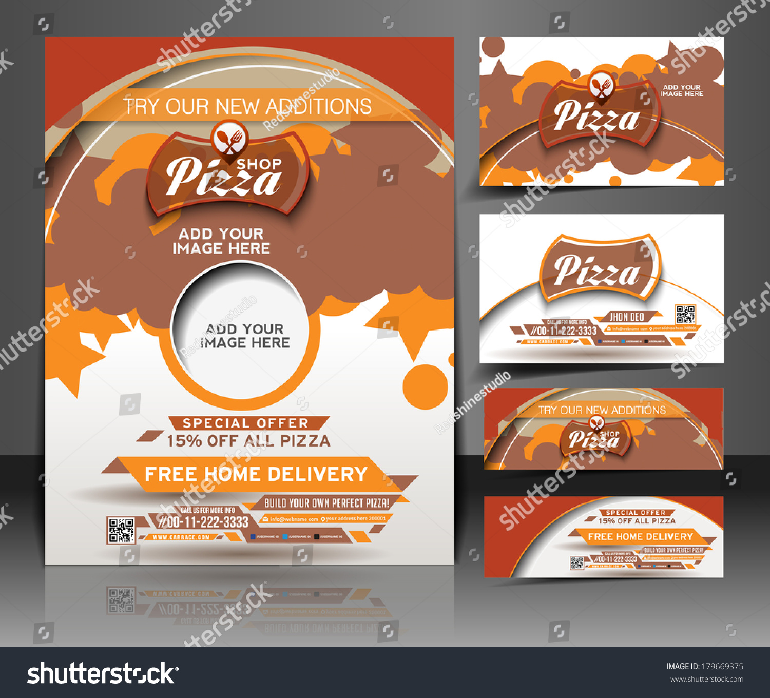 bundle pizza shop flyer business card stock vector 179669375