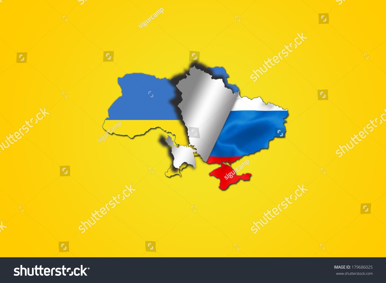 Ukrainian Flag Folding Reveal Russian Flag Stock Illustration