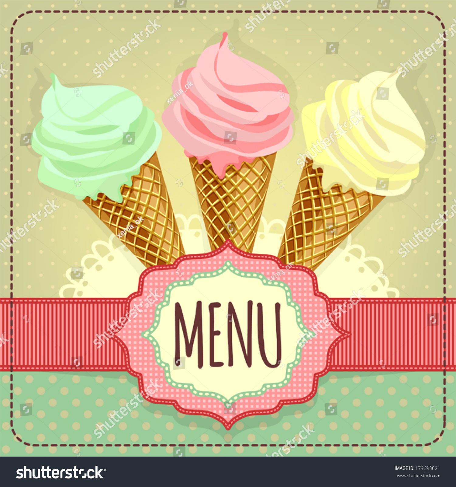 card with ice cream  template for menu  stock vector