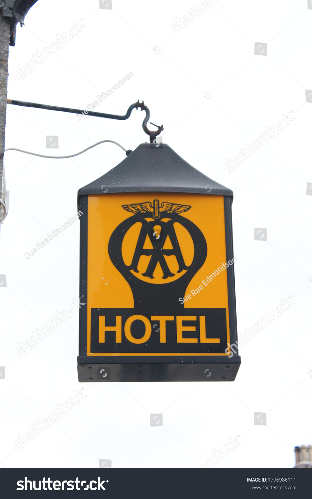 Banchory, Scotland, UK, 16/08/2020:Old AA hotel sign with copy space