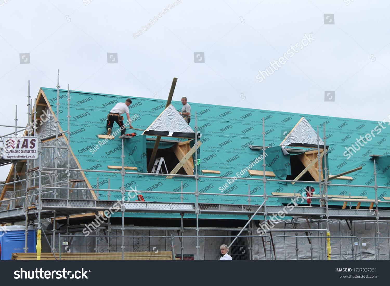 Aberdeenshire, Scotland, UK, 17/08/2020: building residential homes, construction house with scaffold steel for construction workers,