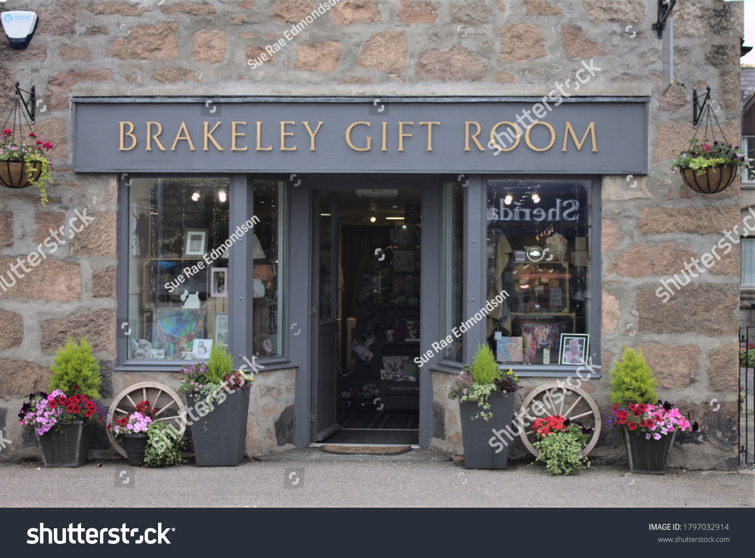 Ballater, Scotland, UK, 17/08/2020: Quaint little gift shop with flower display outside