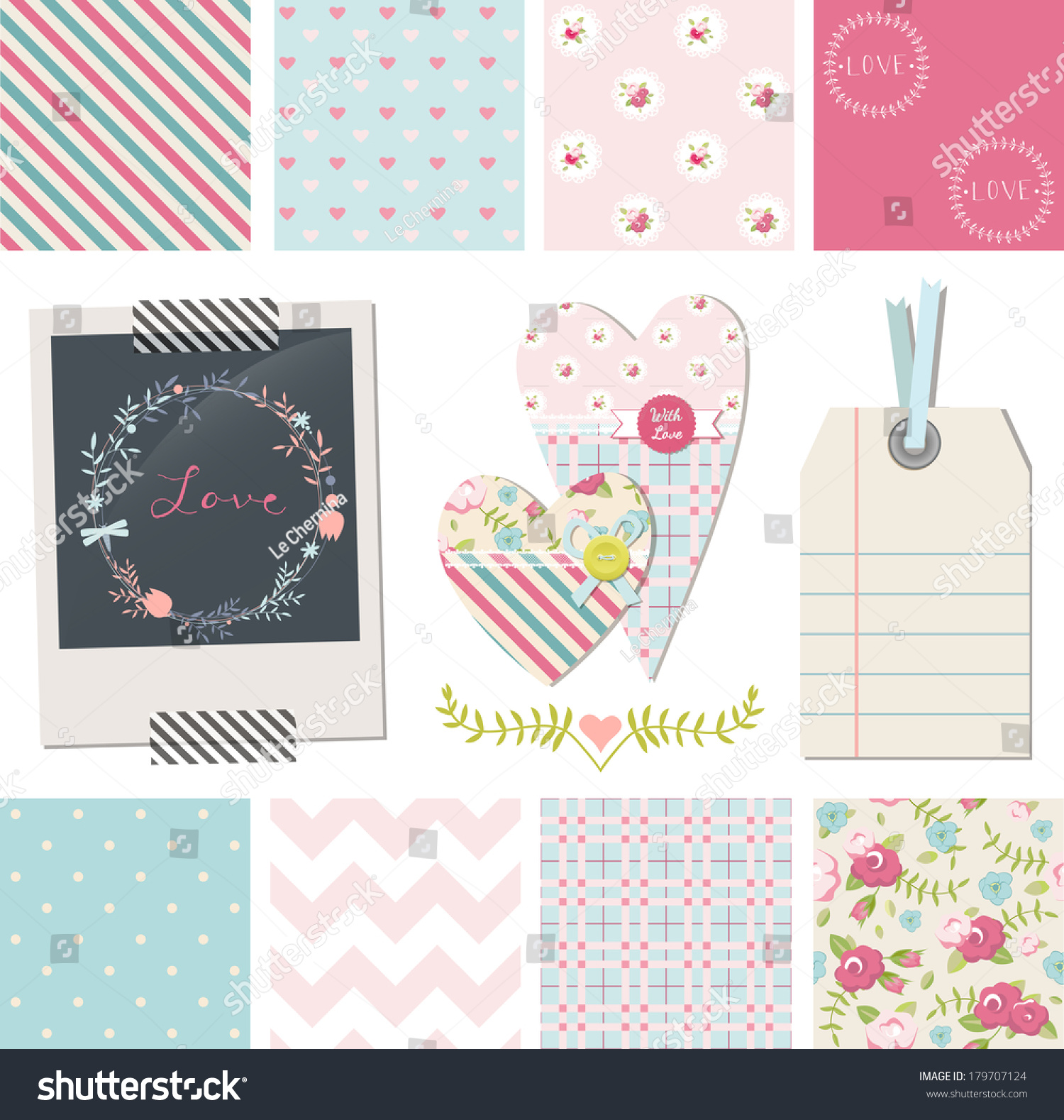 Set Of Pretty Shabby Chic Vector Seamless Patterns And