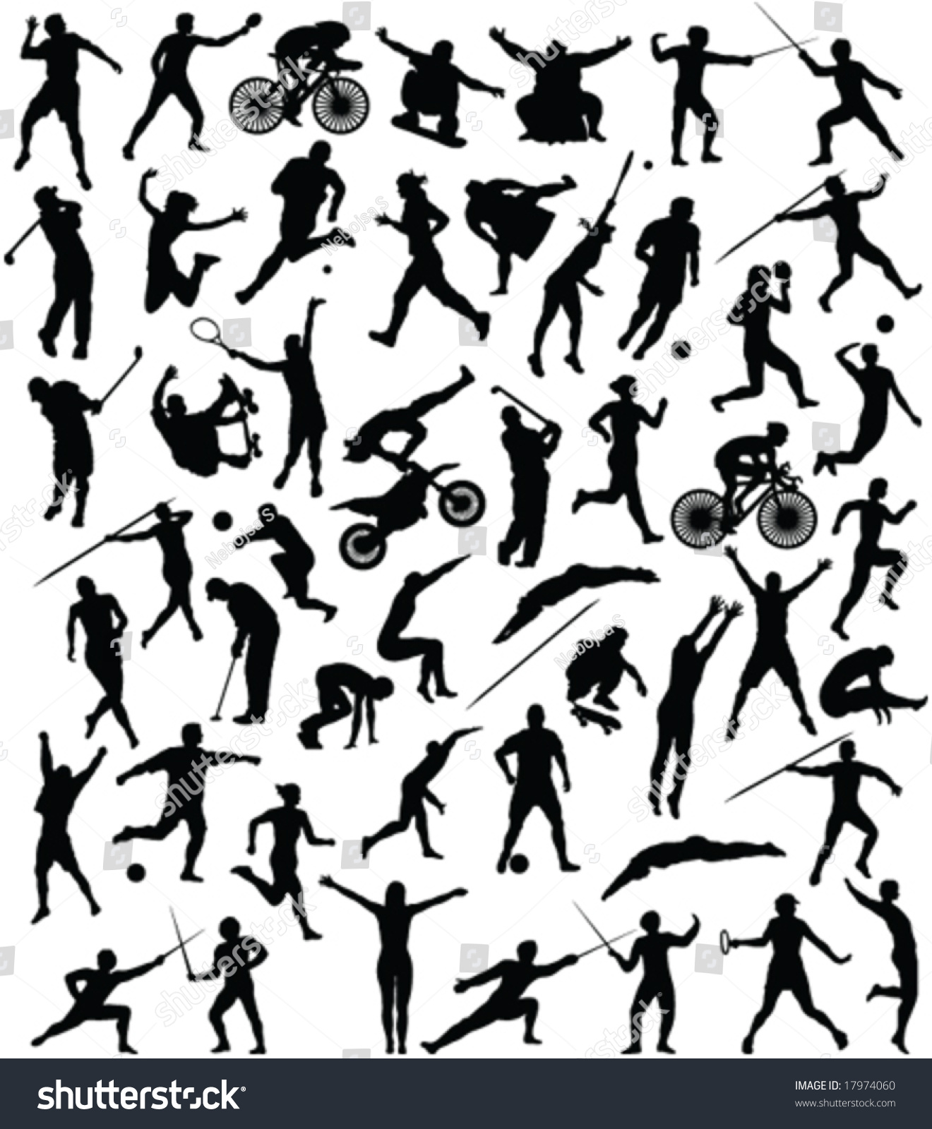 50 High Quality Sport Silhouette Vector Stock Vector
