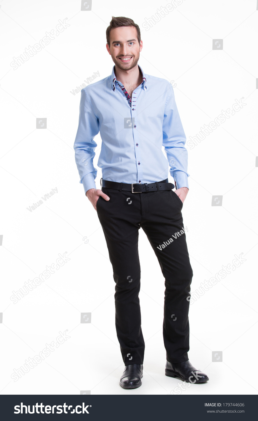 Portrait Smiling Happy Man Blue Shirt Stock Photo 179744606 ...