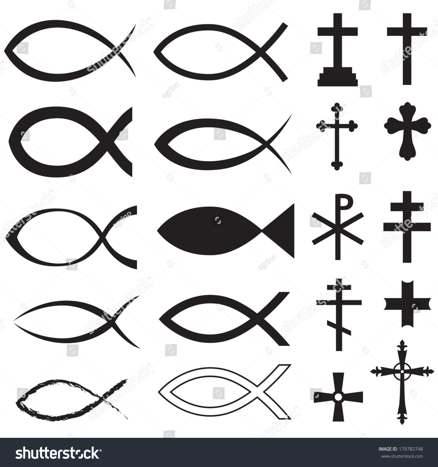 Set christian fish symbol different crosses stock illustration set christian fish symbol and different crosses buycottarizona Gallery