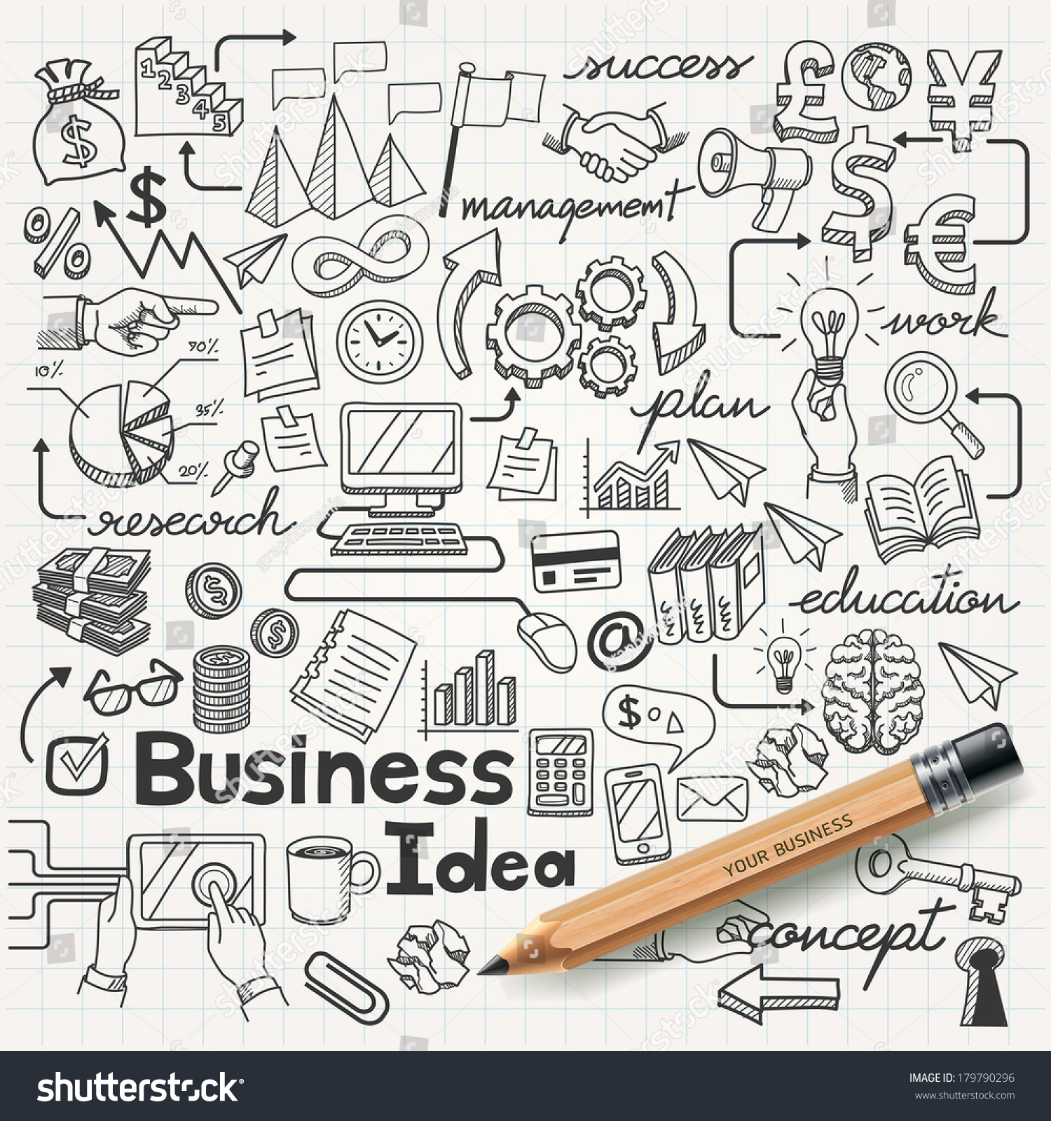 Business Idea doodles icons set. Vector illustration. #179790296