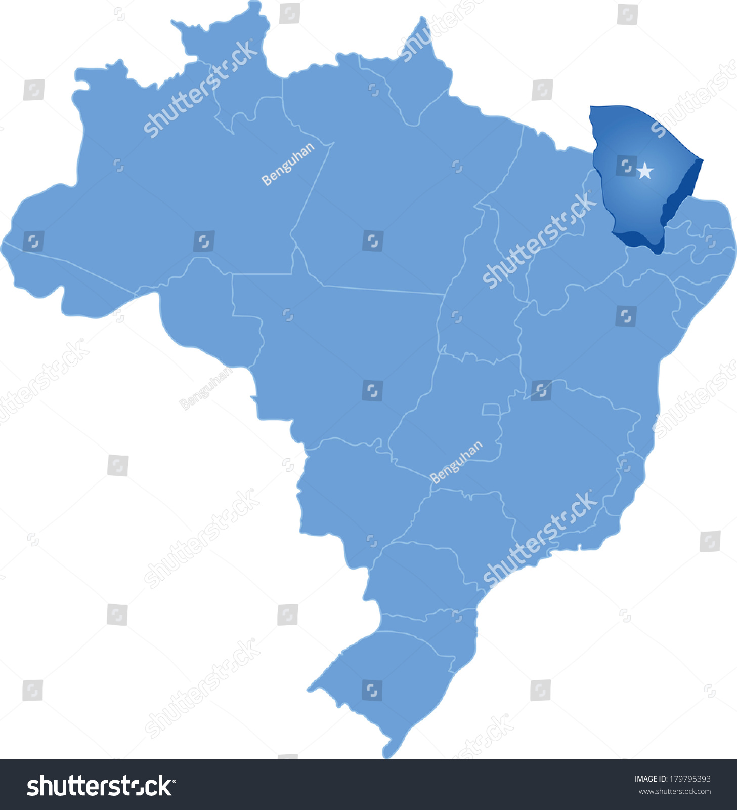 Political Map Brazil All States Where Stock Vector - Political map of brazil