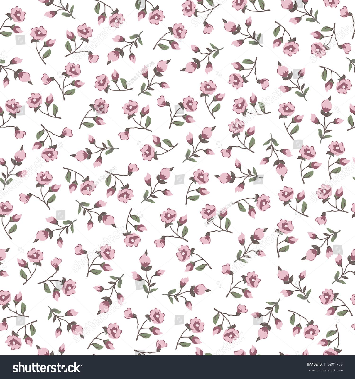 Vintage Small Flowers Seamless Pattern Stock Vektorgrafik