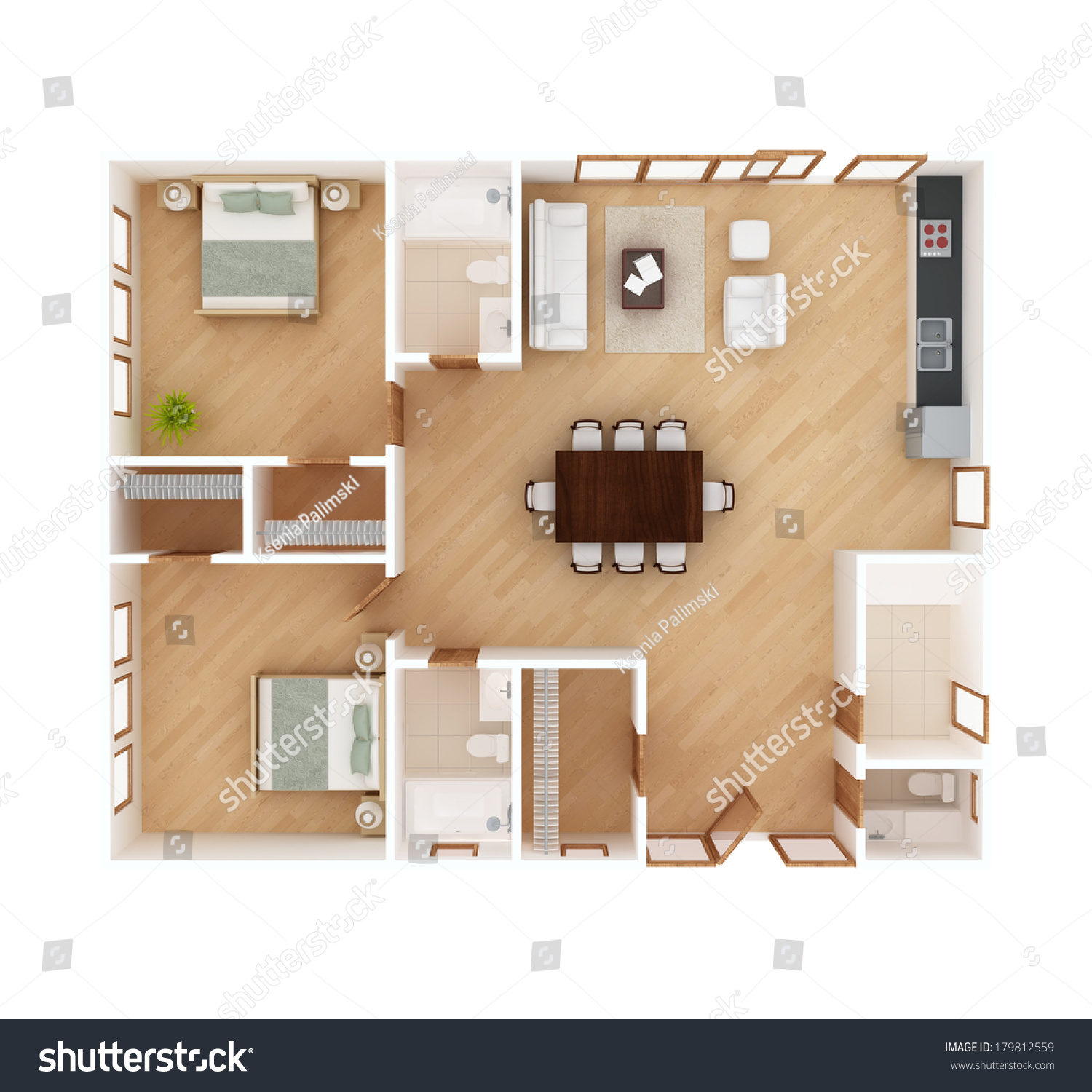 Royalty free 3d floor plan top view of a house 179812559 3d view home design