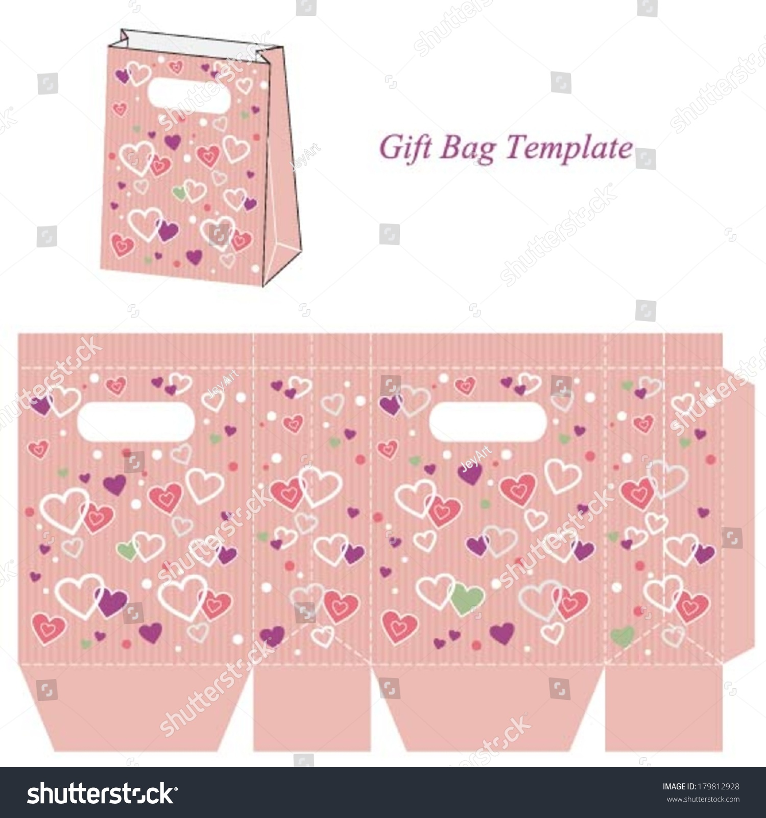 pink gift bag template stripes colorful stock vector royalty free