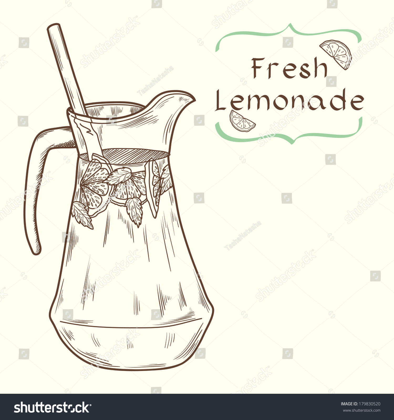 Doodle Hand Drawn Jug Of Fresh Home Made Lemonade On Light