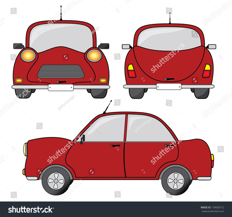 red car side front back view stock vector 179836712 shutterstock. Black Bedroom Furniture Sets. Home Design Ideas