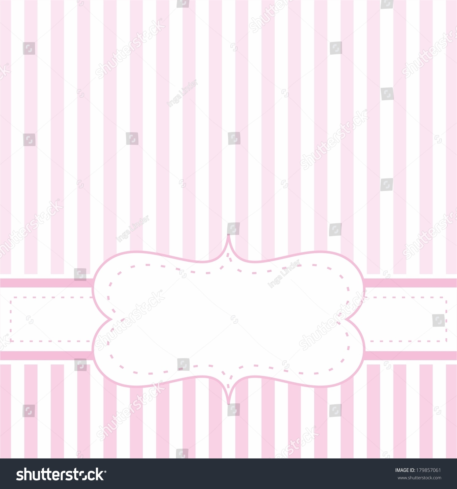 Royalty free pink vector card invitation for baby 179857061 stock pink vector card invitation for baby shower wedding or birthday party with white stripes stopboris Images