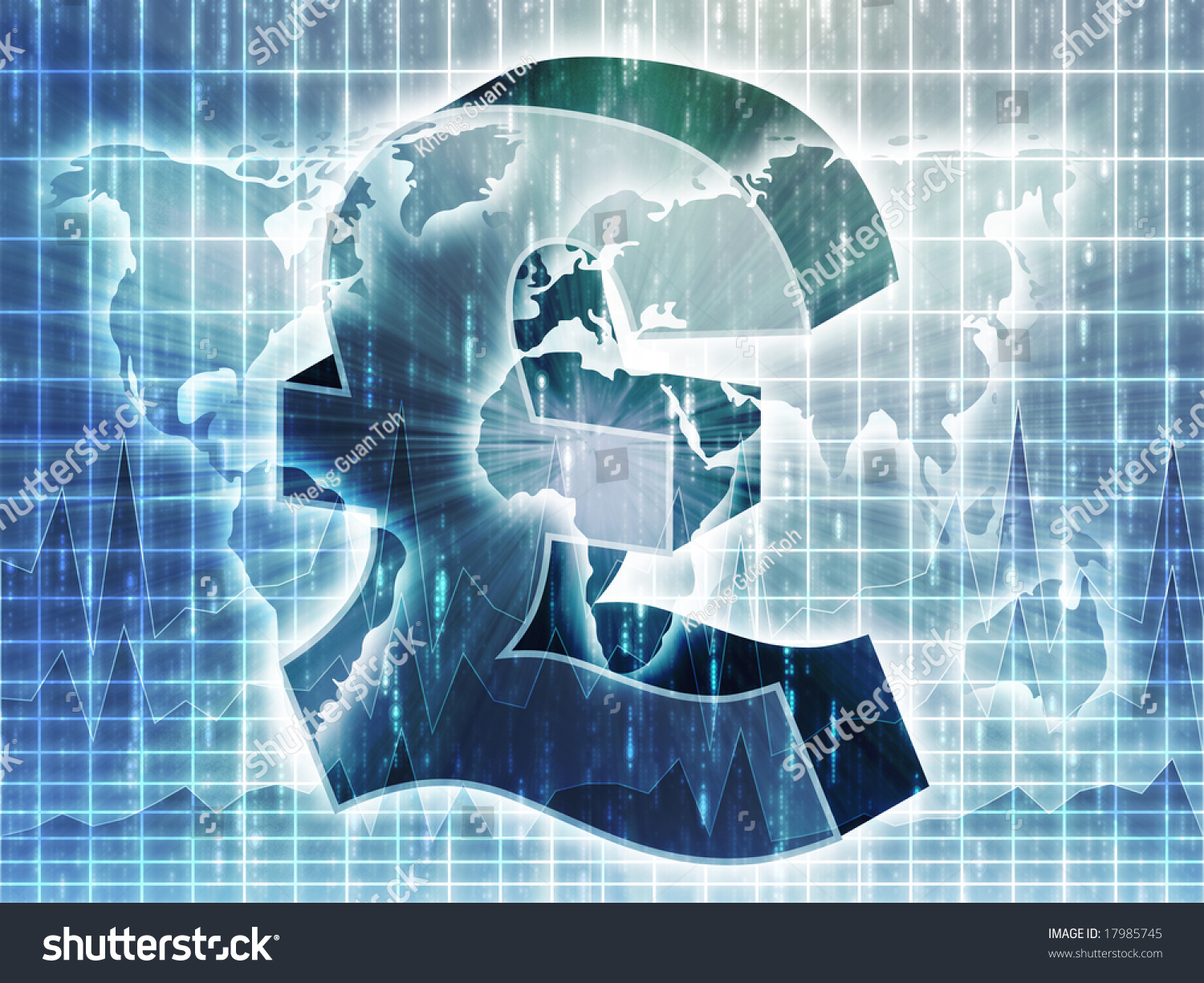 British Pounds Currency Symbol Over World Stock Illustration