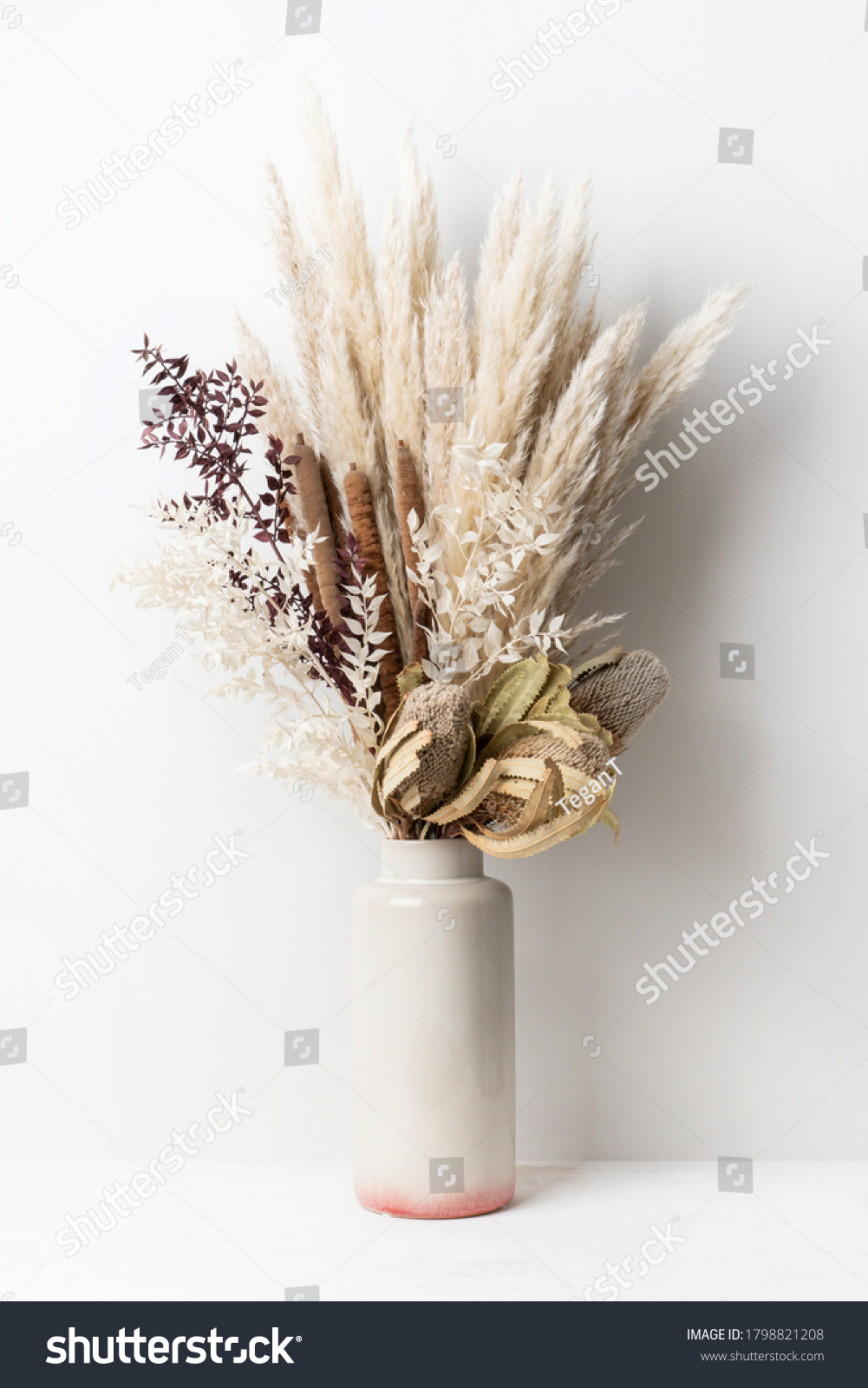 Stylish modern dried flower arrangement in a cream and pink vase. Including Banksia, pampas grass, bulrush and ruscus leaves. Art decoBoho gift for Anniversary, birthday, mothers day. #1798821208