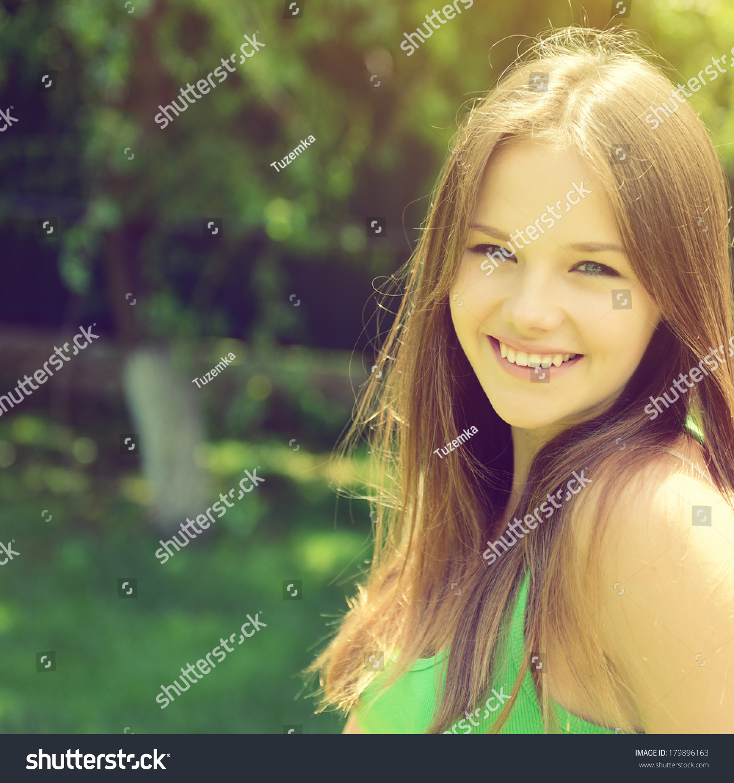 Portrait pretty cheerful young girl over stock photo for Cheerful nature