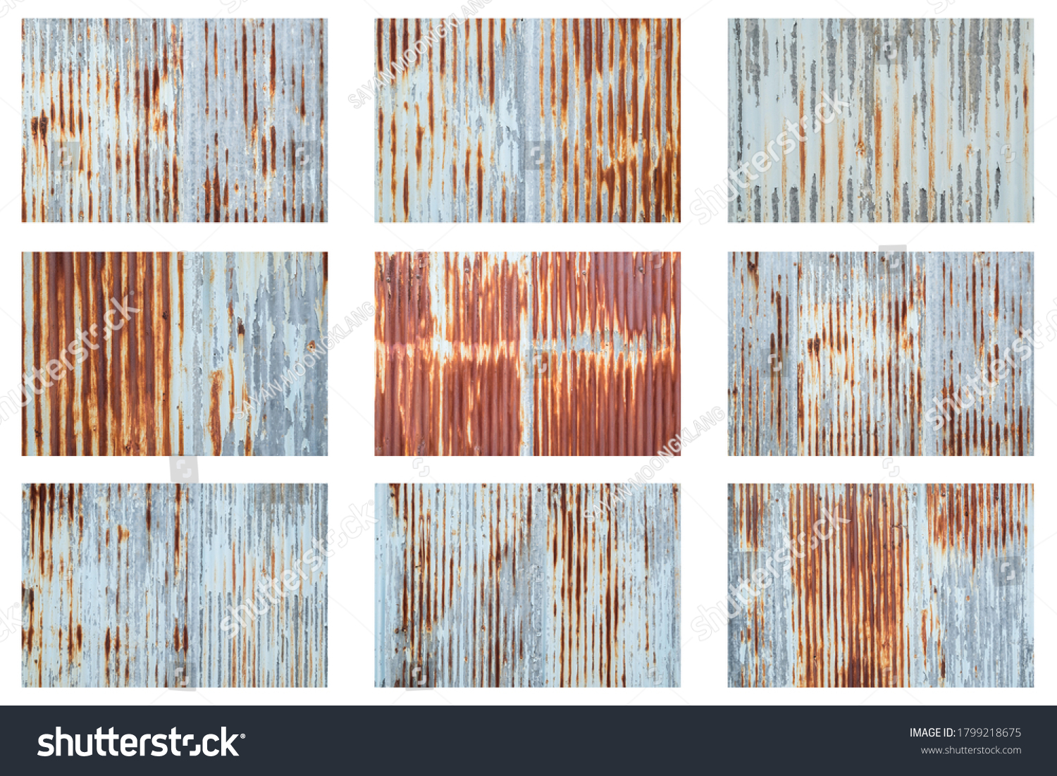 Old metal sheet roof texture isolated on white background. Rusty metal sheet texture set. #1799218675