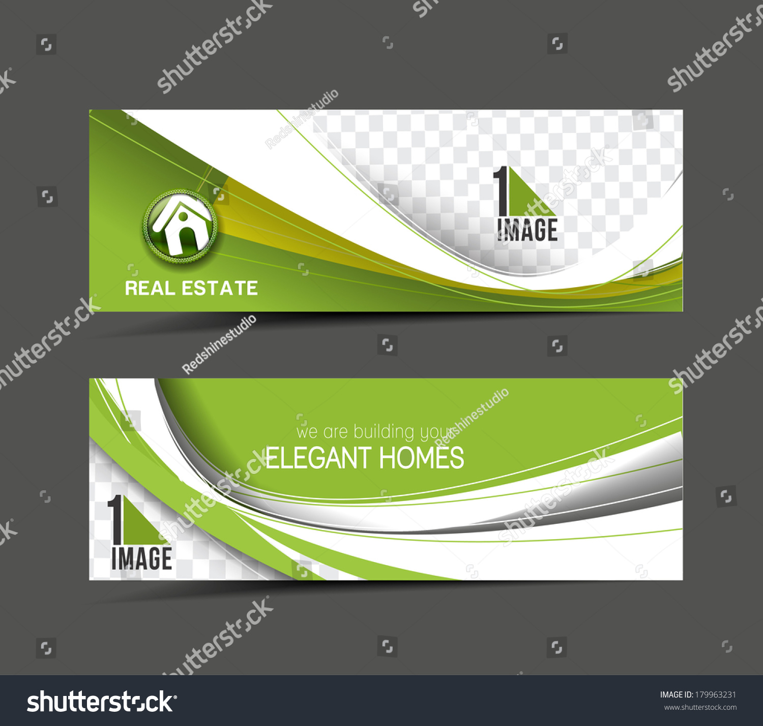Real Estate Web Banner Header Layout Stock Vector 179963231 ...