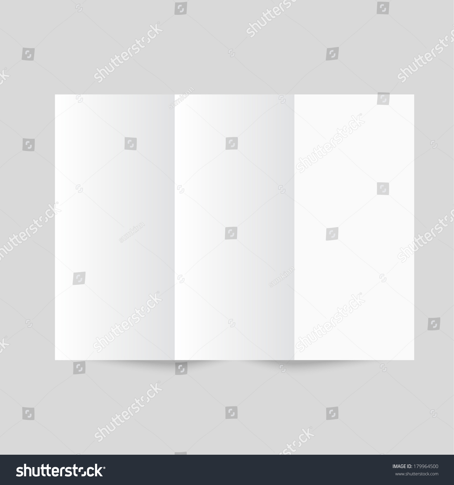white stationery blank trifold paper z folded brochure on gray