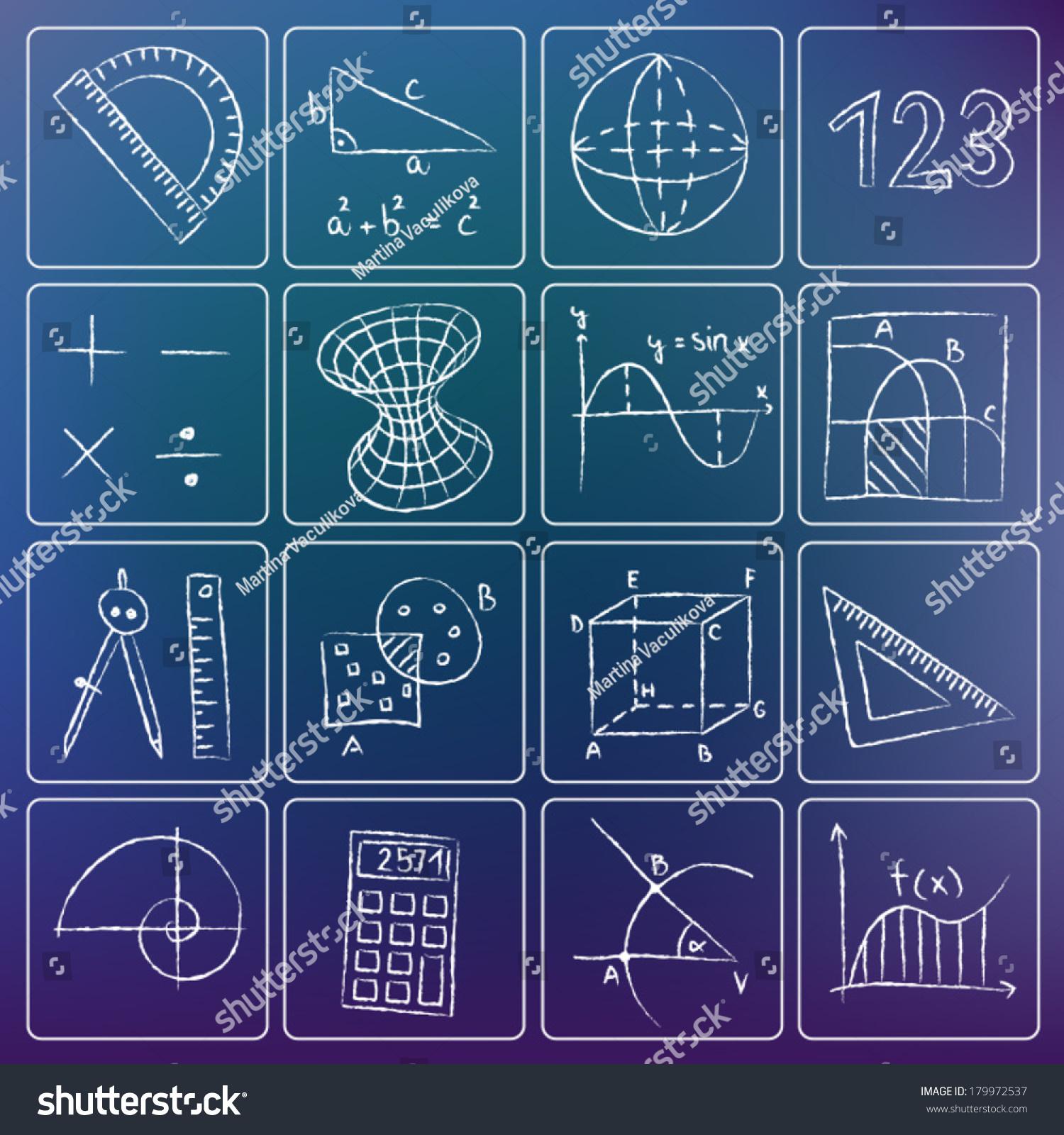 illustration mathematics icons white chalky doodles stock