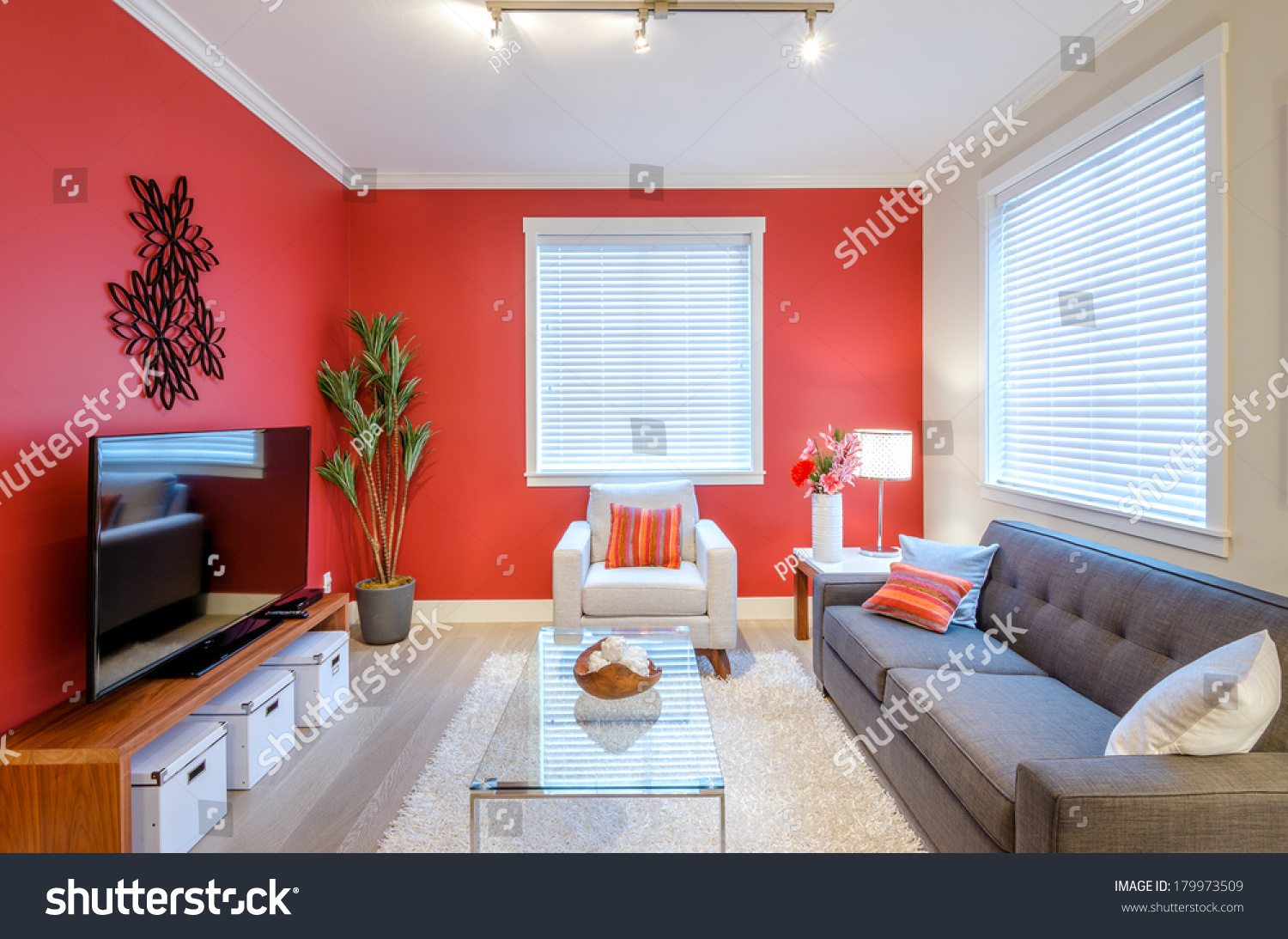 Modern Red Living Room Interior Design Stock Photo Edit Now 179973509