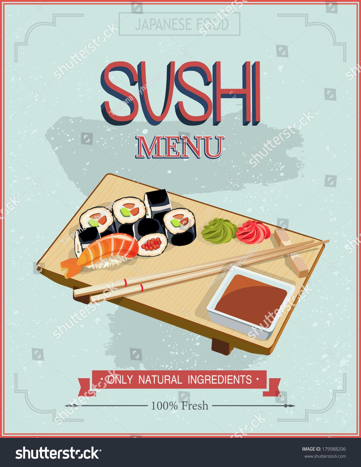 japanese cuisine restaurant sushi menu cover stock vector (royalty