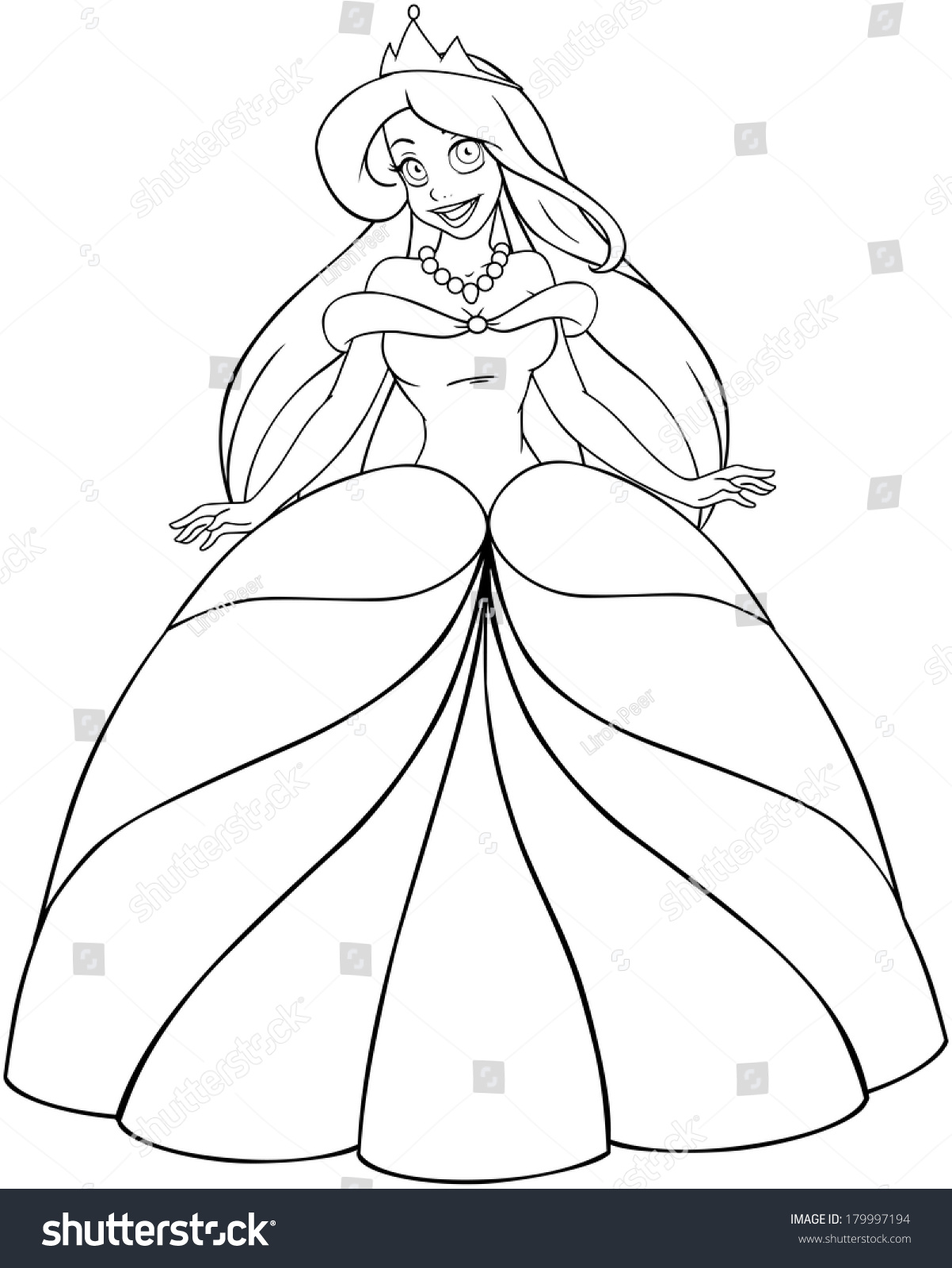 vector illustration coloring page beautiful caucasian stock vector