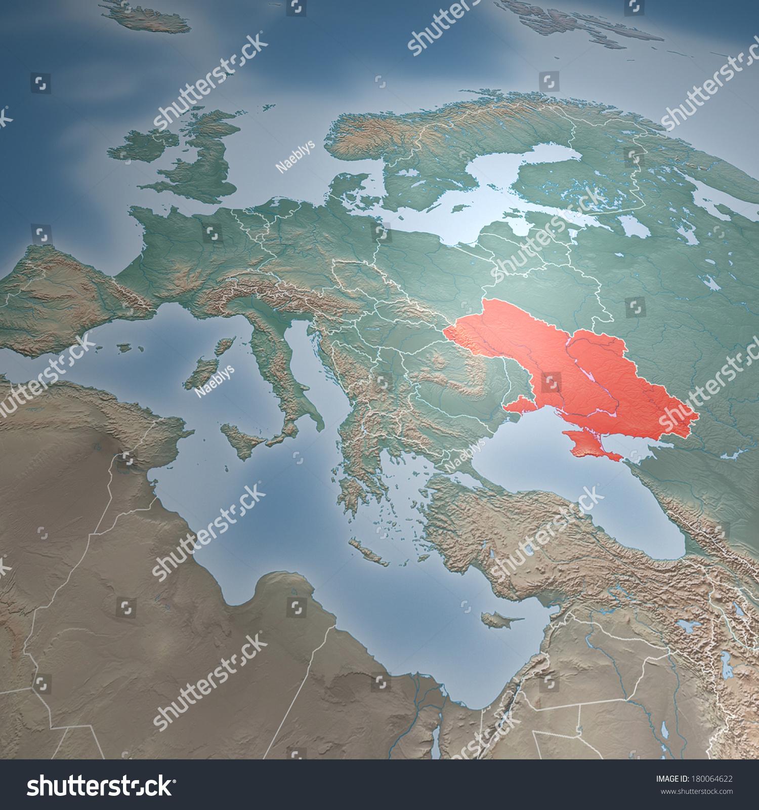 Map Europe Asia Middle East Crimea Stock Illustration 180064622
