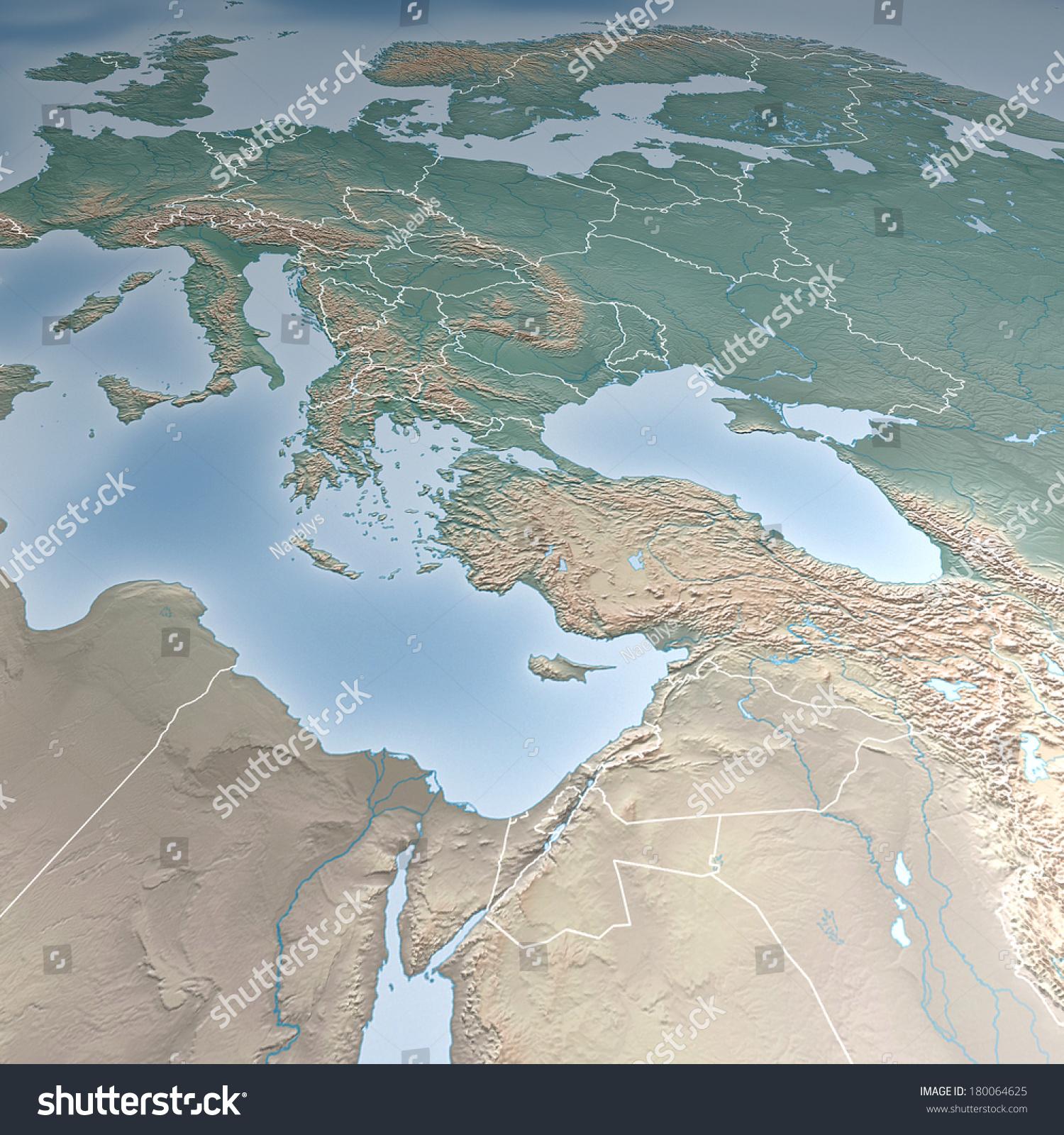 Map Europe Asia Middle East Crimea Stock Illustration Royalty Free