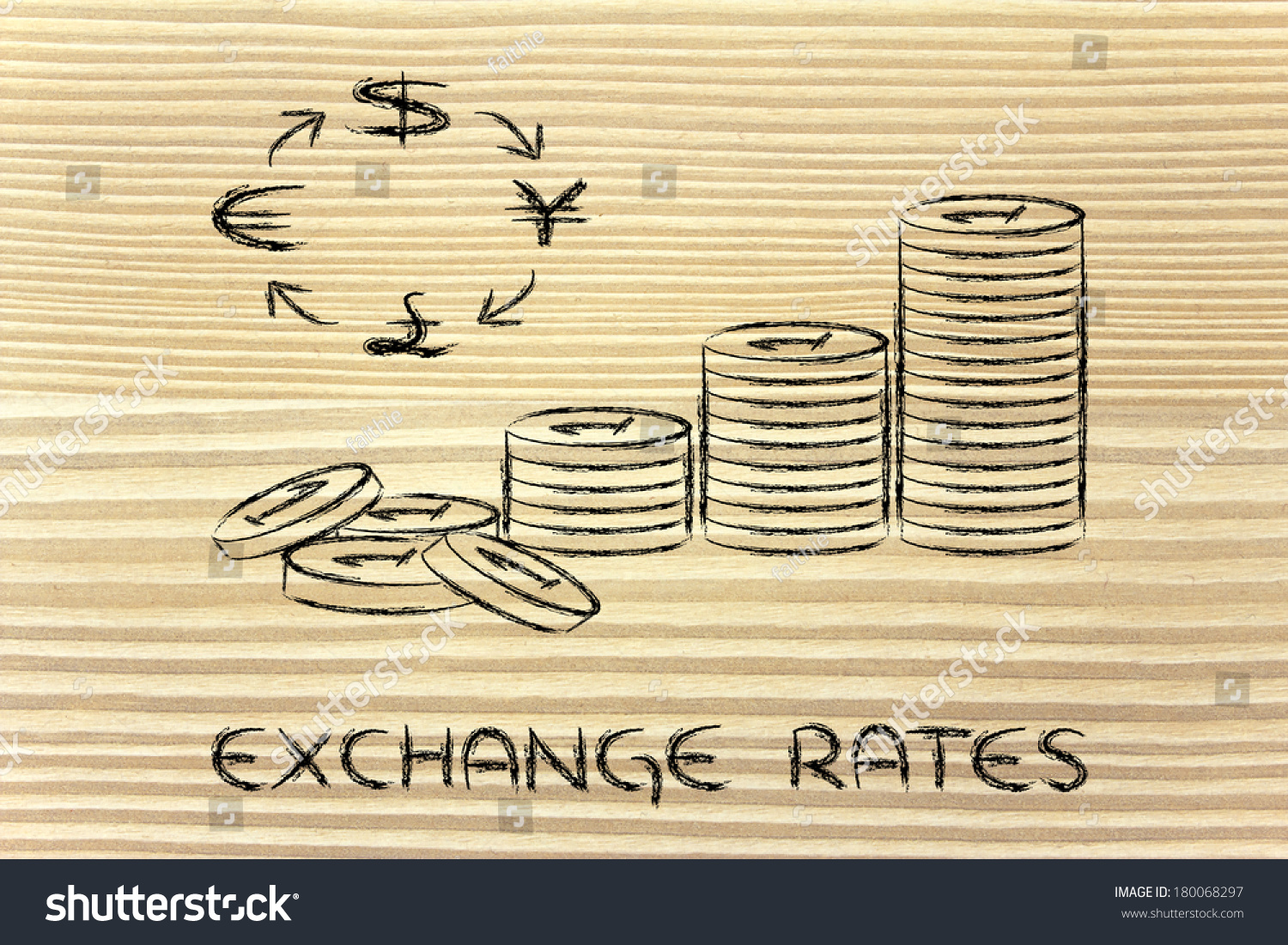 Concept exchange rates coins currency symbols stock illustration concept of exchange rates coins and currency symbols biocorpaavc