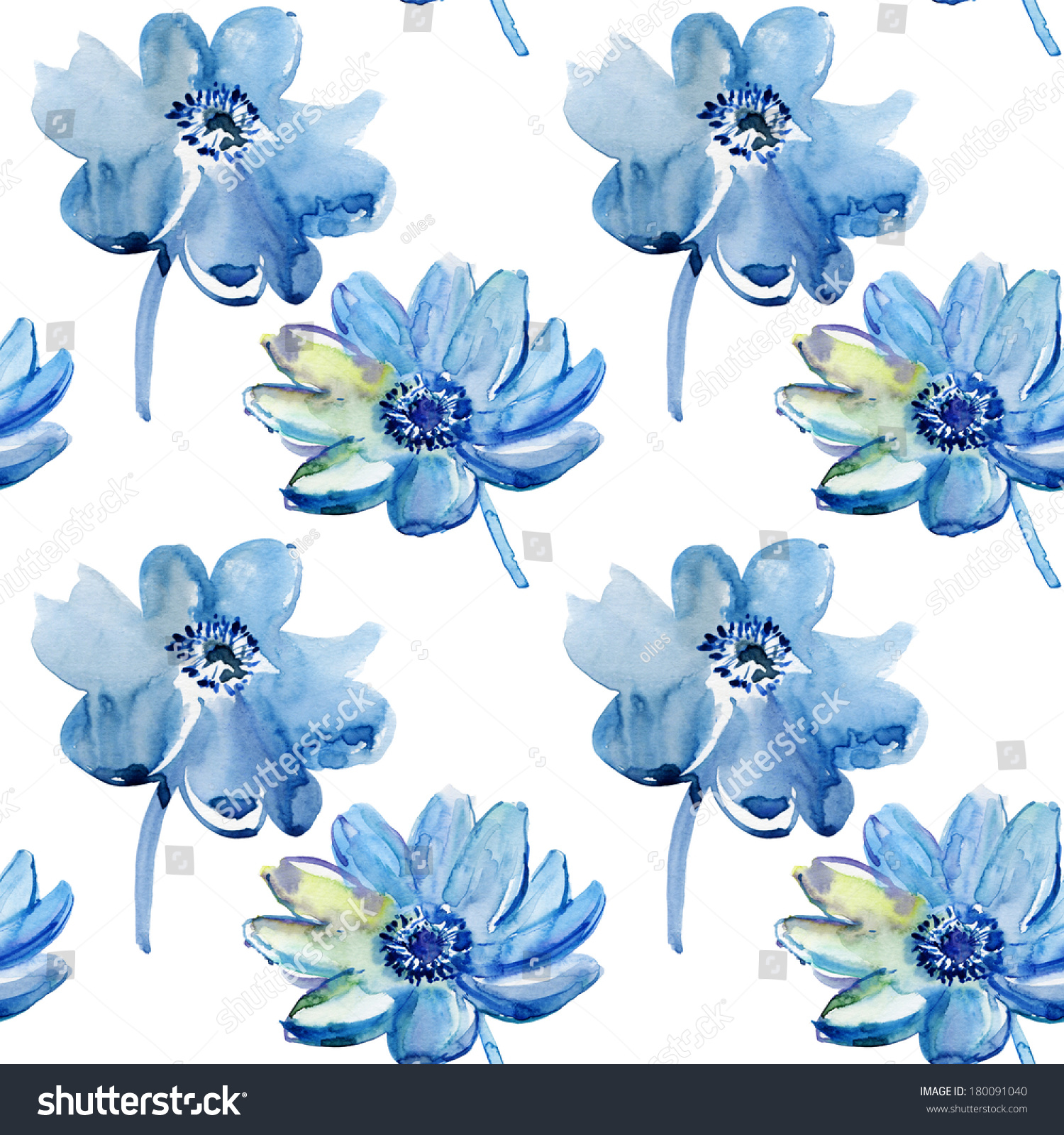 Seamless Pattern With Beautiful Blue Flowers Watercolor Painting