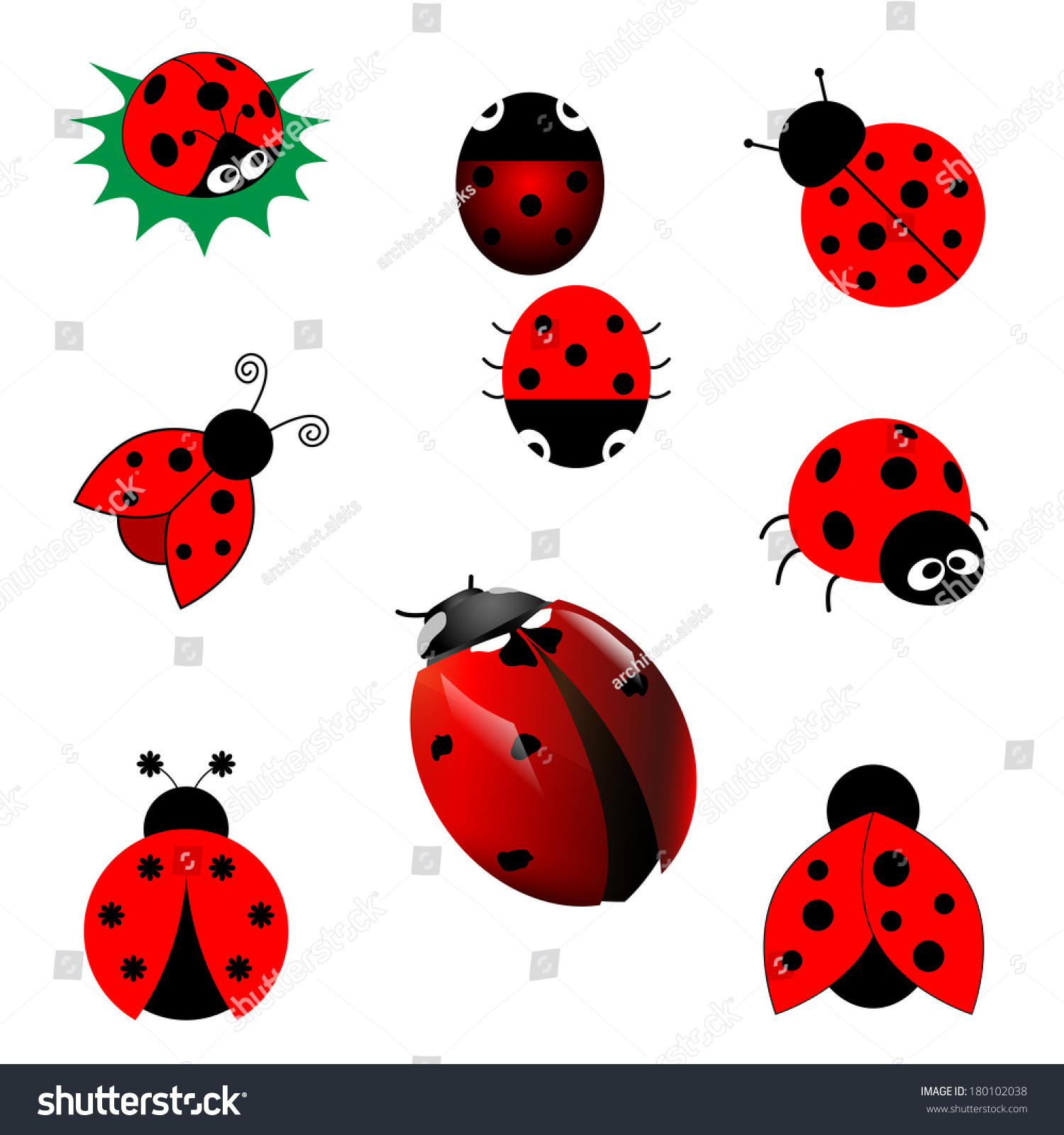 set ladybugs vector stock vector 180102038 shutterstock